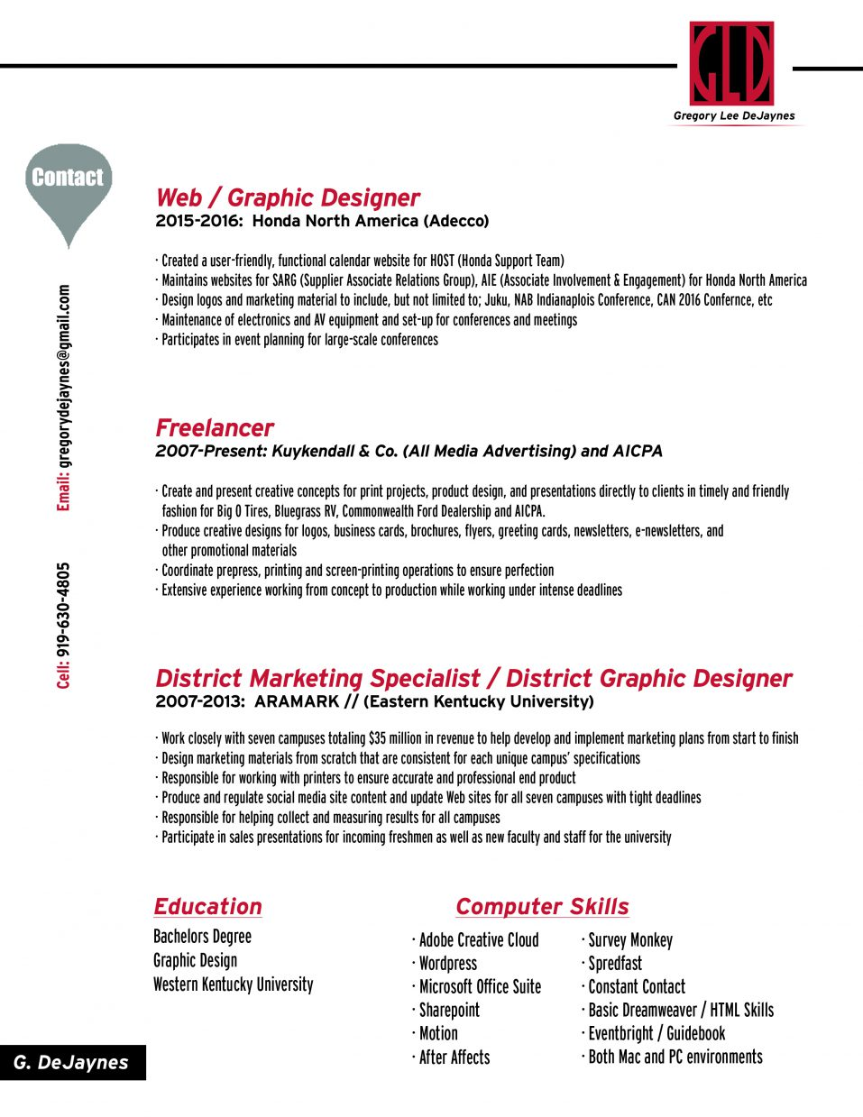Resume | Gregory Lee DeJaynes
